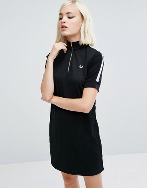 photo Zip Thru Knit Dress with High Neck by Fred Perry, color Black - Image 1
