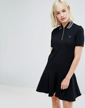 photo Peplum Pique Dress by Fred Perry, color Black - Image 1