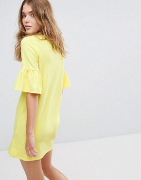 photo Frill Cuff Dress by Pull&Bear, color Yellow - Image 2