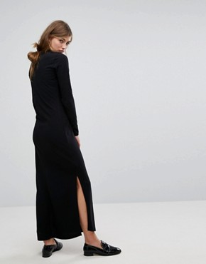 photo Bella Freud Pique Maxi Dress with Retro Collar by Fred Perry, color Black - Image 2