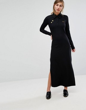 photo Bella Freud Pique Maxi Dress with Retro Collar by Fred Perry, color Black - Image 1