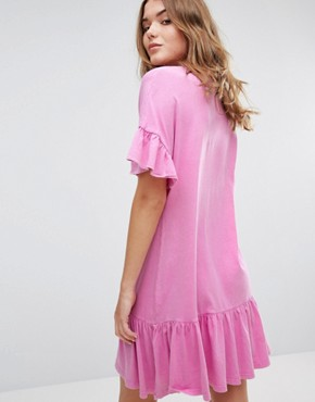 photo Frill Hem & Cuff Dress by Pull&Bear, color Pink - Image 2