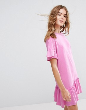 photo Frill Hem & Cuff Dress by Pull&Bear, color Pink - Image 1