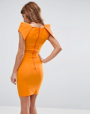 photo Pencil Dress with Origami Shoulders by Vesper, color Tangerine - Image 2