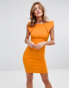 photo Pencil Dress with Origami Shoulders by Vesper, color Tangerine - Image 1