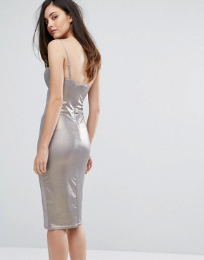photo High Shine Plunge Pencil Dress by Rare London, color Dark Silver - Image 2