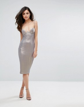 photo High Shine Plunge Pencil Dress by Rare London, color Dark Silver - Image 4