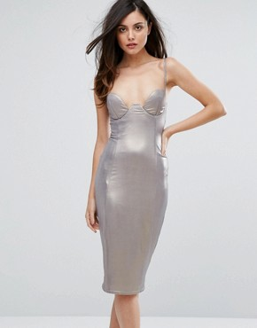 photo High Shine Plunge Pencil Dress by Rare London, color Dark Silver - Image 1