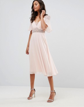 photo Lace Insert Flutter Sleeve Midi Dress by ASOS, color Nude - Image 1