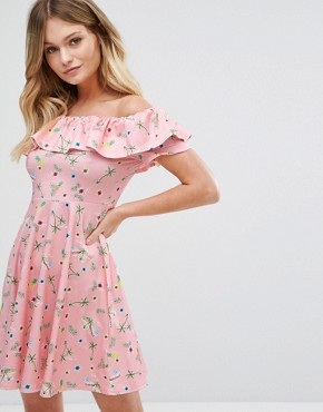 photo Floral Bardot Dress by New Look, color Pink Pattern - Image 1