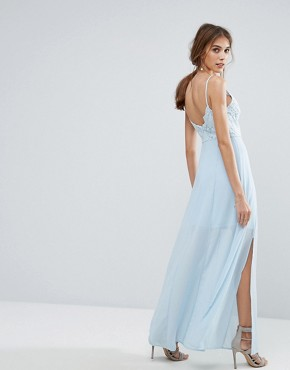 photo Lace Cami Maxi Dress by New Look, color Baby Blue - Image 2