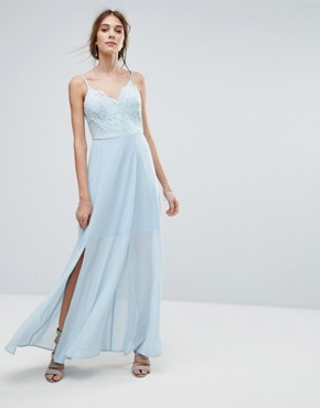 photo Lace Cami Maxi Dress by New Look, color Baby Blue - Image 1