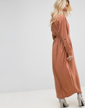 photo Jagger Silk Blend Maxi Shirt Dress by None the Richer, color Cognac - Image 2