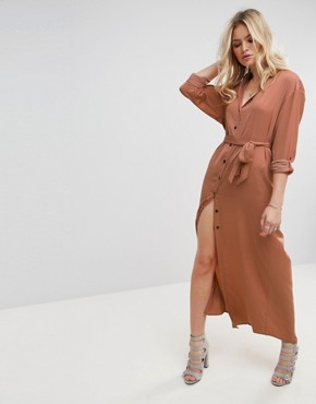 photo Jagger Silk Blend Maxi Shirt Dress by None the Richer, color Cognac - Image 1