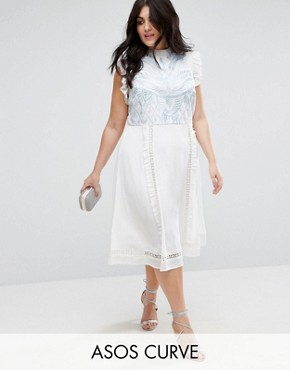 photo Sleeveless Embroidered Dress by ASOS CURVE PREMIUM, color Cream - Image 1