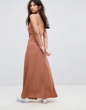 photo Ray Silk Blend Slip Dress by None the Richer, color Cognac - Image 2