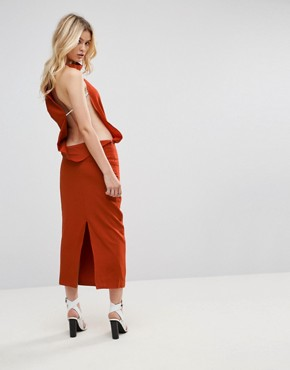 photo Backless Asymmetric Dress by None the Richer, color Terracotta - Image 1