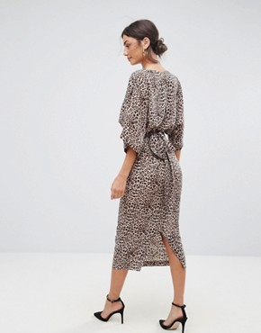 photo Plunge Kimono Dress in Animal Print by ASOS TALL, color Animal - Image 2