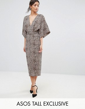 photo Plunge Kimono Dress in Animal Print by ASOS TALL, color Animal - Image 1