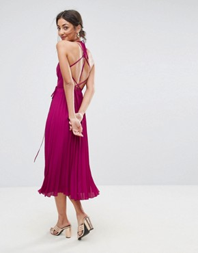photo Wrap Front Pleated Midi Dress by ASOS TALL, color Berry - Image 2