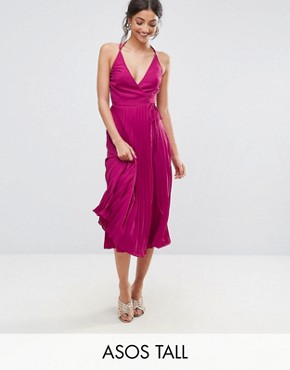 photo Wrap Front Pleated Midi Dress by ASOS TALL, color Berry - Image 1