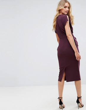 photo Split Cap Sleeve Midi Dress with Modern Ring Belt by ASOS TALL, color Burgundy - Image 2