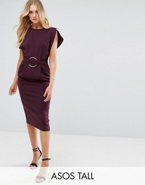 photo Split Cap Sleeve Midi Dress with Modern Ring Belt by ASOS TALL, color Burgundy - Image 1
