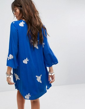 photo Festival Swing Dress with All Over Embroidery by Honey Punch, color Royal Blue - Image 2