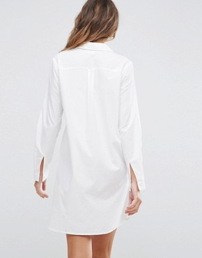 photo Cotton Shirt Dress by ASOS TALL, color White - Image 2
