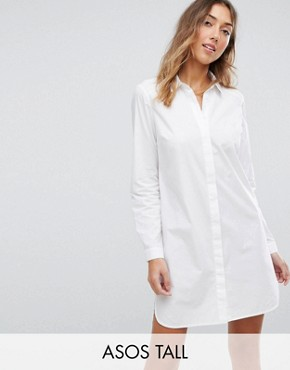 photo Cotton Shirt Dress by ASOS TALL, color White - Image 1