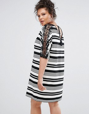 photo Mono Stripy Shift Dress with Lace by Elvi, color Black White - Image 2