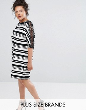 photo Mono Stripy Shift Dress with Lace by Elvi, color Black White - Image 1