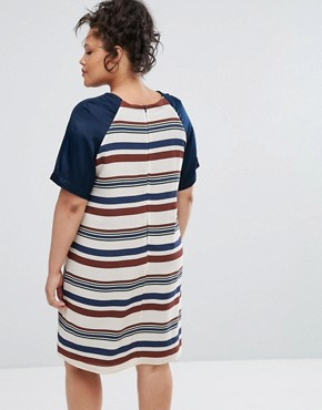 photo Striped Shift Dress by Elvi, color Navy Cream - Image 2