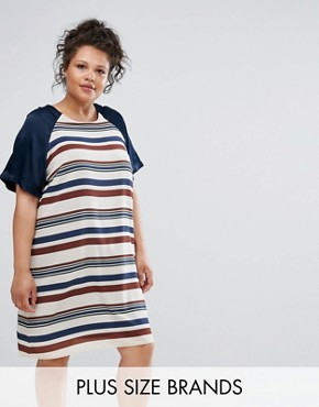 photo Striped Shift Dress by Elvi, color Navy Cream - Image 1