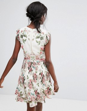 photo Floral Ruffle Detail Pleated Skater Dress by Oasis Royal Worcester, color Multi - Image 2