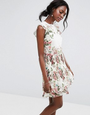 photo Floral Ruffle Detail Pleated Skater Dress by Oasis Royal Worcester, color Multi - Image 1