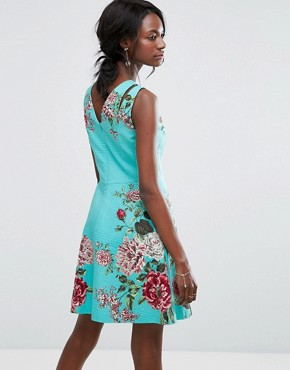 photo Floral Print Skater Dress by Oasis Royal Worcester, color Multi - Image 2