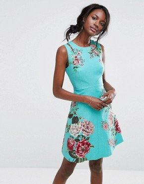 photo Floral Print Skater Dress by Oasis Royal Worcester, color Multi - Image 1