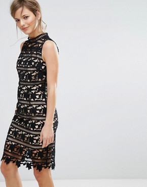 photo Lace Sleeveless Bodycon Dress by New Look, color Black - Image 1