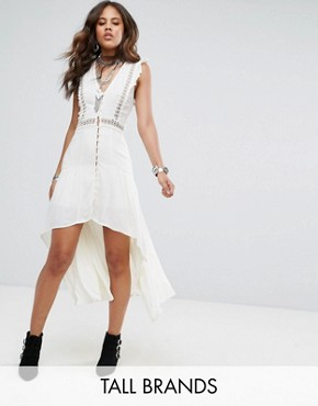 photo Layered Maxi Dress with Button Front by Kiss The Sky Tall, color White - Image 1