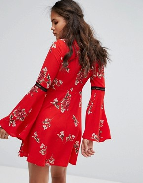 photo Smock Dress with Ladder Inserts in Vintage Floral by Kiss The Sky Tall, color Red - Image 2