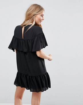 photo Sheer Shift Dress with Pep Hem by ASOS, color Black - Image 2