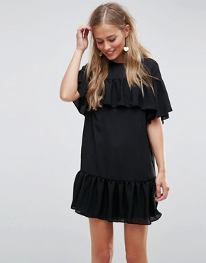 photo Sheer Shift Dress with Pep Hem by ASOS, color Black - Image 1