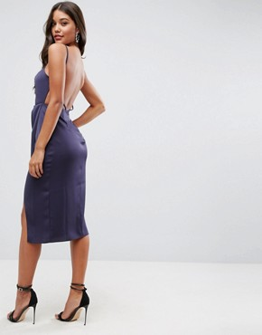 photo Drape Back Delicate Backless Midi Dress by ASOS, color Navy - Image 2