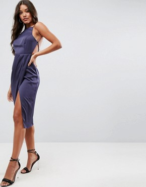 photo Drape Back Delicate Backless Midi Dress by ASOS, color Navy - Image 1