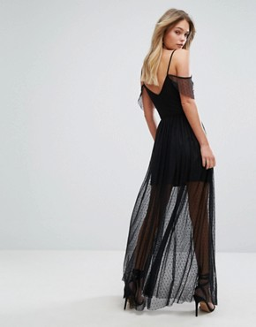 photo Dot Mesh Embroidered Maxi Dress by New Look Premium, color Black - Image 2
