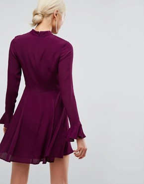 photo Embroidered Trumpet Sleeve Mini Dress by ASOS, color Berry - Image 2