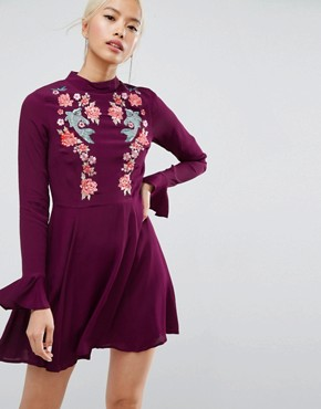 photo Embroidered Trumpet Sleeve Mini Dress by ASOS, color Berry - Image 1