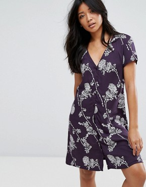 photo Button Through Floral Dress by JDY, color Navy - Image 1