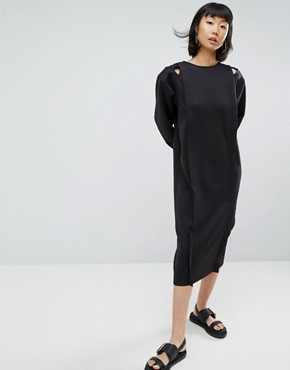 photo Cut Out Shoulder Pad Jersey Midi Dress by ASOS WHITE, color Black - Image 4
